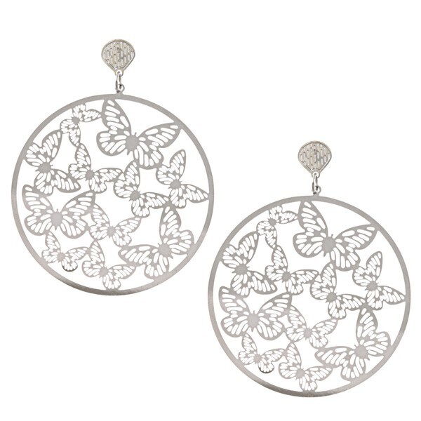 La Preciosa Stainless Steel Large Circle Butterfly Earrings