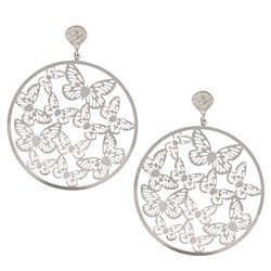 La Preciosa Stainless Steel Large Circle Butterfly Earrings
