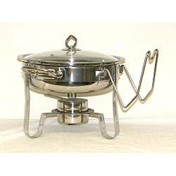 Mega Cook Four Quart Stainless Steel Round Chafing Dish with Glass Lid - Thumbnail 1