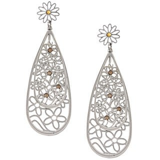 La Preciosa Stainless Steel Yellow Crystal Double Teardrop Earrings