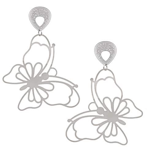 La Preciosa Stainless Steel Large Butterfly Earrings
