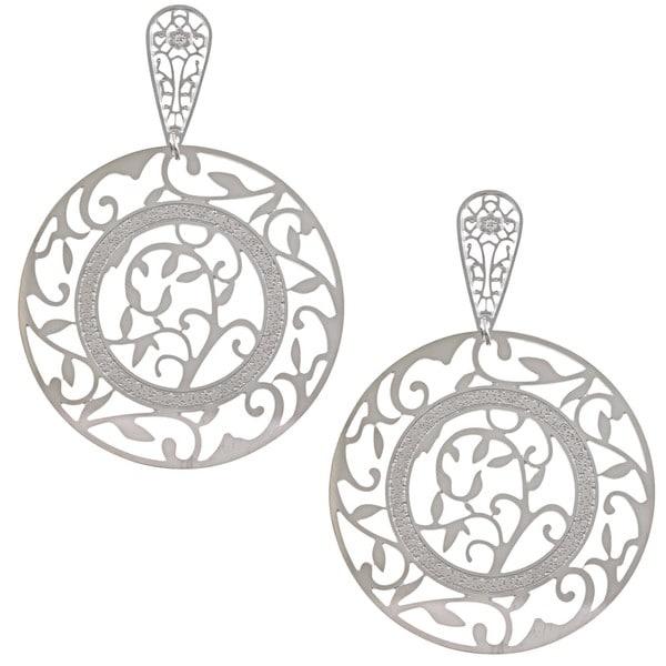 La Preciosa Stainless Steel Large Circle Dangle Earrings