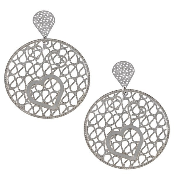 La Preciosa Stainless Steel Large Heart Design Circle Earrings