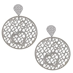 La Preciosa Stainless Steel Large Heart Design Circle Earrings