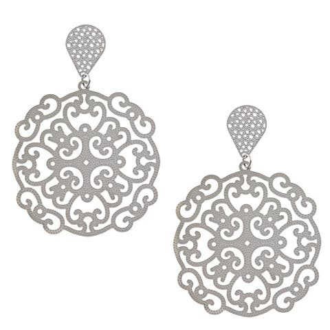La Preciosa Stainless Steel Large Filigree Dangle Earrings