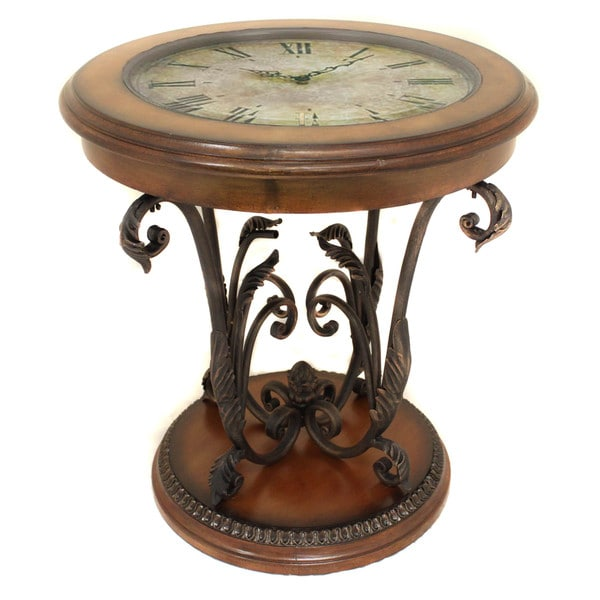 Good Casa Cortes Designer Round Clock Coffee And End Table