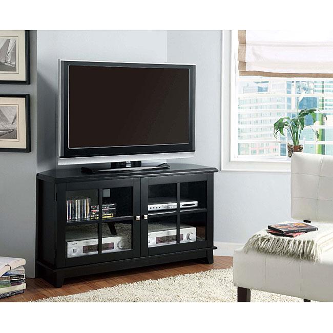 Shop Black Veneer Corner Tv Stand 48 Inch Free Shipping Today