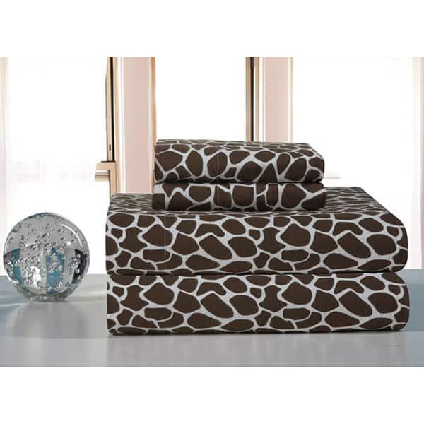 Chocolate Giraffe Flannel Bed Sheet Set On Sale Overstock 6223327 Giraffe Chocolate Twin Xl