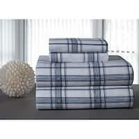Blue Plaid Printed Flannel Sheet Set
