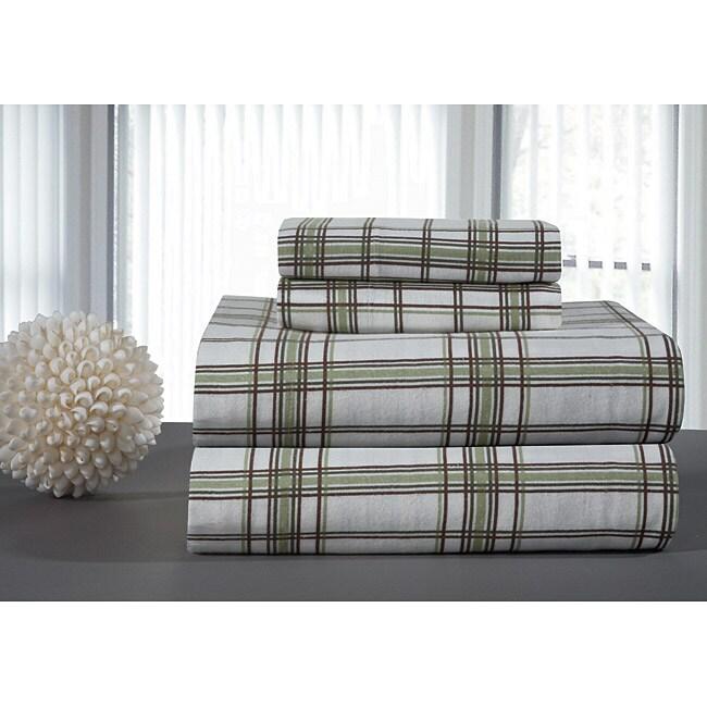 Pointehaven Sage Plaid Flannel Sheet Set