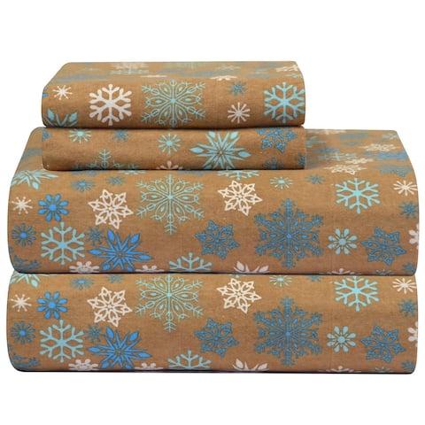 Pointehaven Snow Flakes Printed Flannel Sheet Set