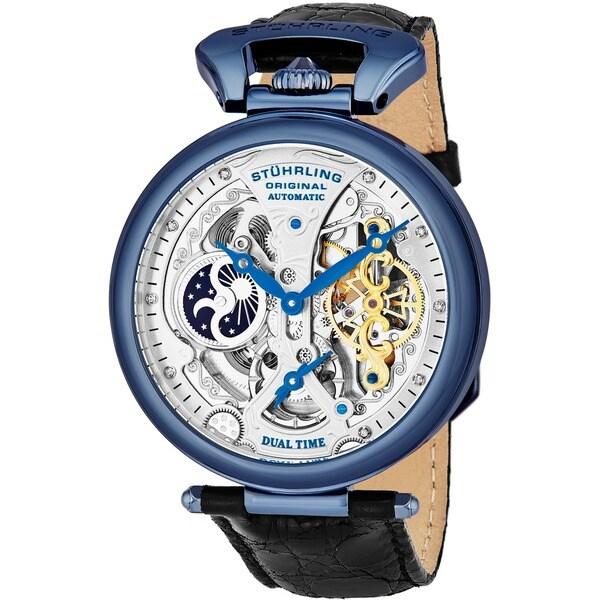 Stuhrling Original Men's Emperor's Grandeur Automatic Leather Strap Watch. Opens flyout.