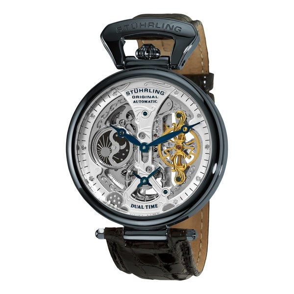 Stuhrling Original Men's Emperor's Grandeur Automatic Leather Strap Watch