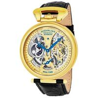 Stuhrling Original Men's Emperor's Grandeur Automatic Watch with Black Leather Strap - GOLD