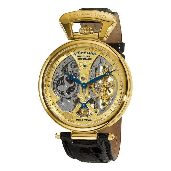 Stuhrling Original Men's Emperor's Grandeur Automatic Watch with Black Leather Strap