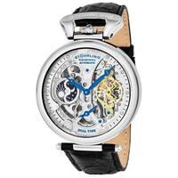 Stuhrling Original Men's Emperor's Grandeur Automatic Leather Strap Watch - silver