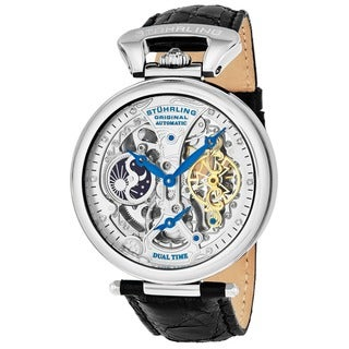 Stuhrling Original Men's Emperor's Grandeur Automatic Leather Strap Watch - silver
