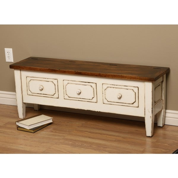 Antique-white Spartan Wooden Bench with Three Drawers (Indonesia)