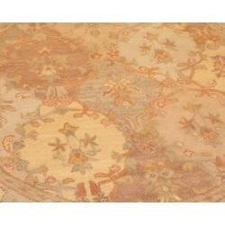 Indo Hand-tufted Tabriz Beige Wool Rug (6' Round) - Thumbnail 1