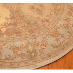 Indo Hand-tufted Tabriz Beige Wool Rug (6' Round) - Thumbnail 2