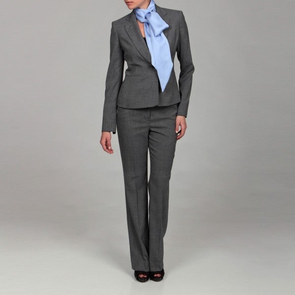 Anne Klein Women's Dark Charcoal Plaid Pant Suit - Free Shipping