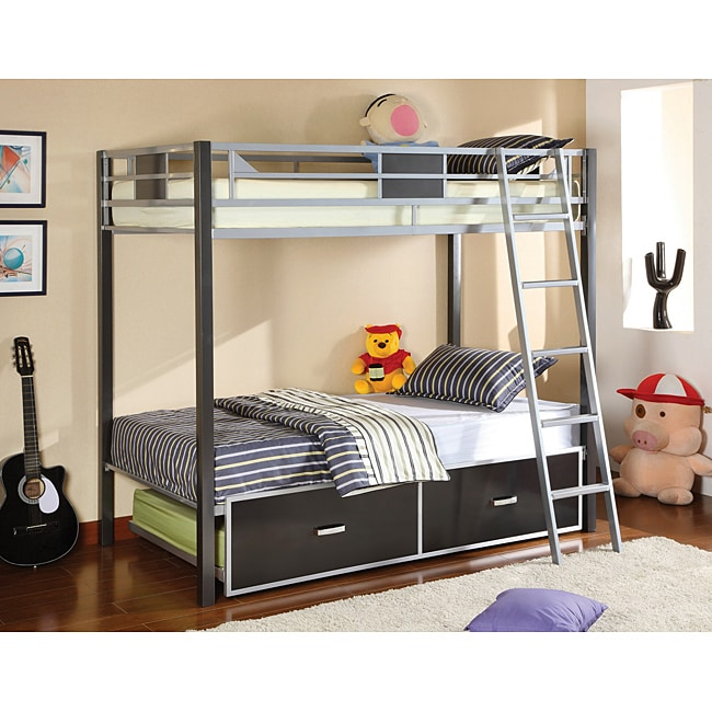 Furniture of America Pierce Twin Over Twin Bunk Bed with ...