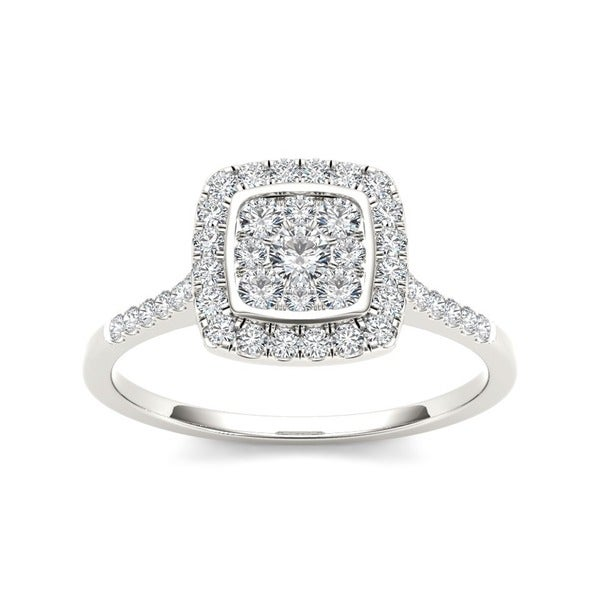 De Couer 10k Gold TDW 1/2ct Diamond Halo Engagement Ring (H-I, I2)