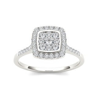De Couer 10k Gold TDW 1/2ct Diamond Halo Engagement Ring
