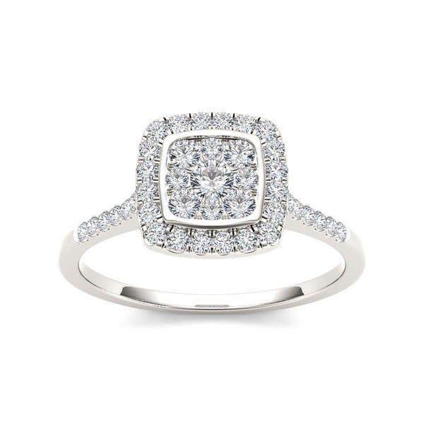 De Couer 10k White Gold TDW 1/2ct Diamond Halo Engagement Ring (H-I, I2)