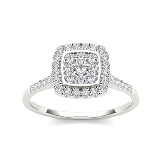 De Couer 10k Gold TDW 1/2ct Diamond Halo Engagement Ring
