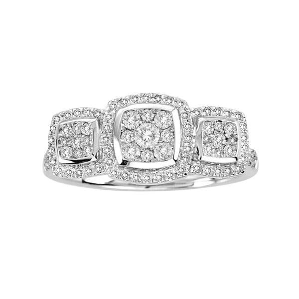 De Couer 10k White Gold 1/2ct TDW Imperial Diamond Three Stone Ring (H-I, I2)