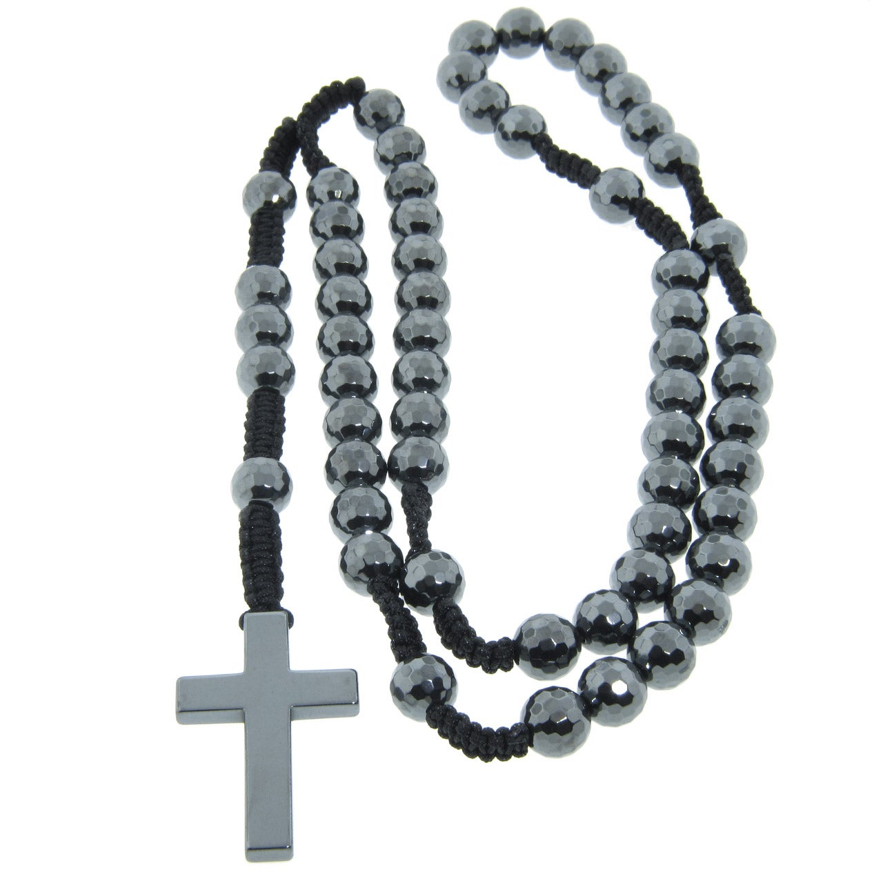Eternally Haute Macrame Hematite 32-inch Rosary Necklace