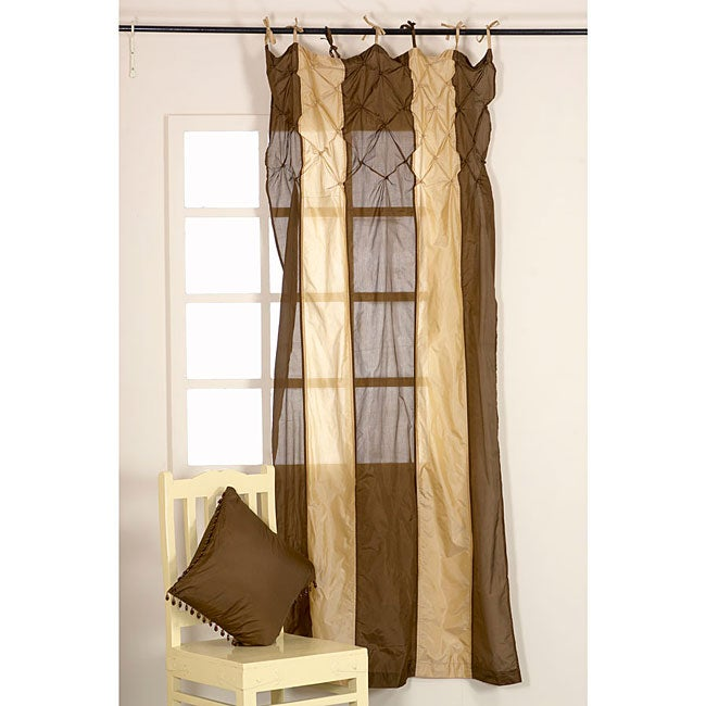 Brown Striped 92-inch Curtain Panel (India)