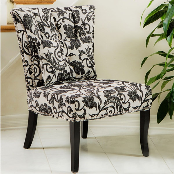 Black and White Floral Pattern Accent Chair Free