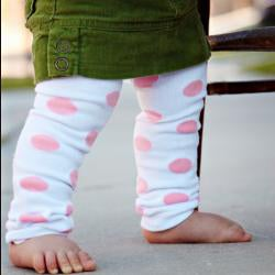 White And Pink Polka Dot Polyester Spandex Baby Leg
