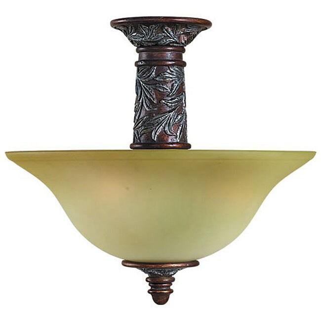 Woodbridge Lighting Vergennes 2-light Bark Semi-flush Mount