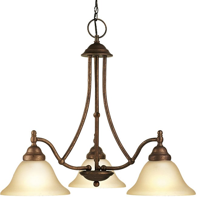 Woodbridge Lighting Anson 3-light Marbled Bronze Chandelier - Thumbnail 0