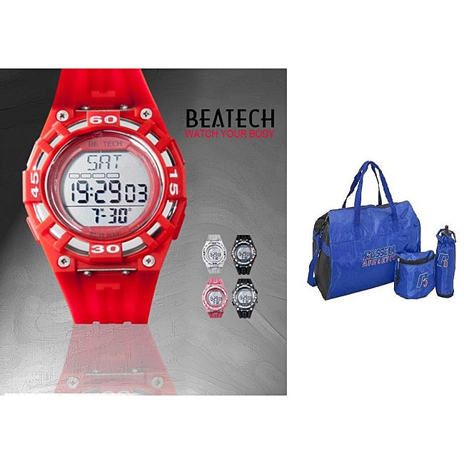 Beatech Red Heart Rate Monitor Watch with Russell Athletic 3-piece Work-out Set
