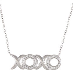 Eloquence Sterling Silver 1/6ct TDW XOXO Diamond Necklace