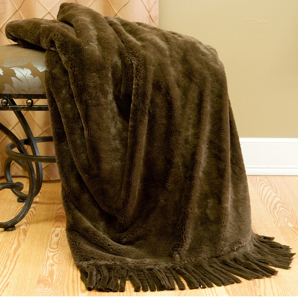 Aurora Home Fringe Faux Seal Fur Throw