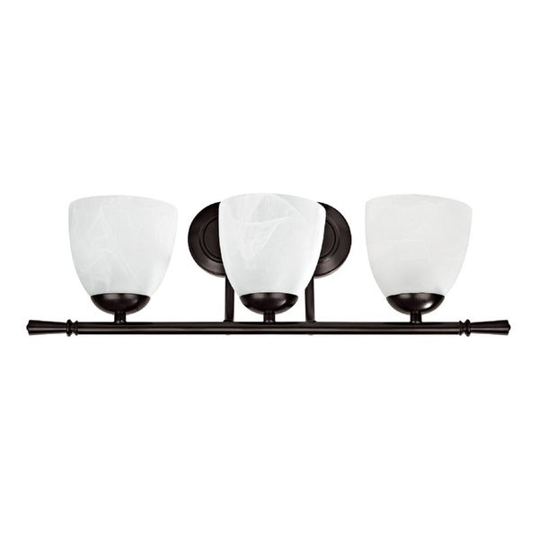 Transitional Three-light Dark Rubbed-Bronze Bath Bar with Alabaster Shades
