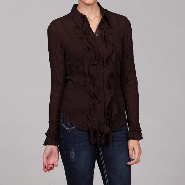 Violet & Claire Women's Crinkle Long-sleeve Top