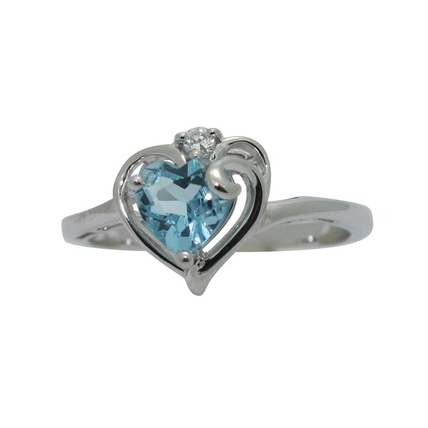 Gioelli Silver Cubic Zirconia and Blue Topaz Heart Ring