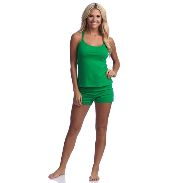 Shop Illusion Women S Green Racerback Tank And Shorts