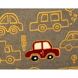 nuLOOM Handmade Kids Cars New Zealand Wool Rug (5' x 8')
