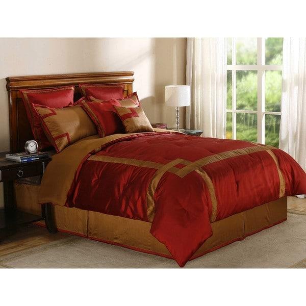 Crosswind Brick/ Bronze Queen-size 8-piece Comforter Set