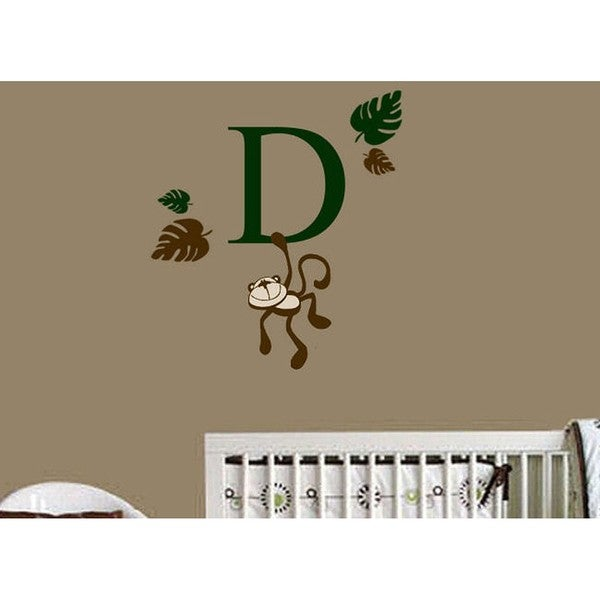 Monkey Monogram 6-piece Wall Vinyl Decal