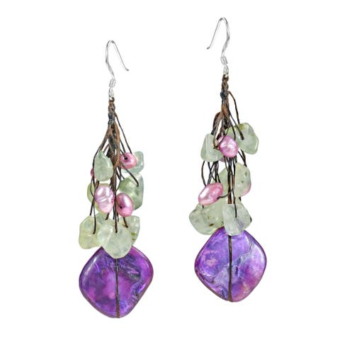 Handmade Cluster Stone Shell Drop Sterling Silver Earrings (Thailand)