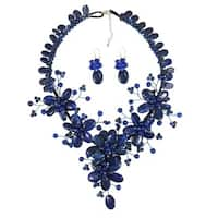 Handmade Sterling Silver Navy Blue Lapis Floral Weave Jewelry Set (Thailand)