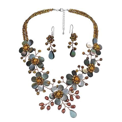 Handmade Exquisite Floral Bouquet Pearls Seashell Petals Jewelry Set (Thailand) - bronze